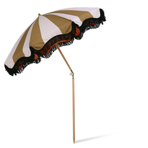 Nude & Mustard Fringed Beach Umbrella. PRE ORDER JULY