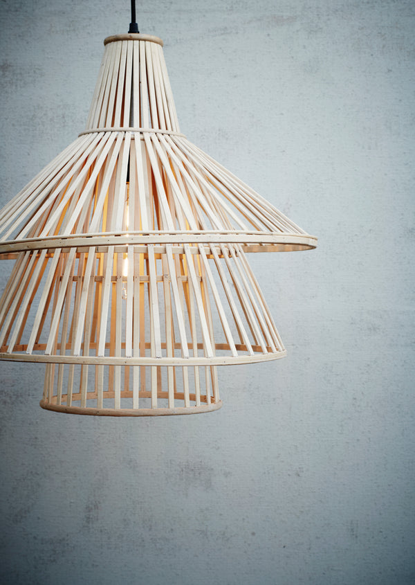 Bamboo or Rattan Tiered Pendant Light