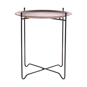 Walnut Pin Metal Framed Side Table