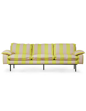 Yellow Candy Striped 4 Seater Sofa. PRE ORDER