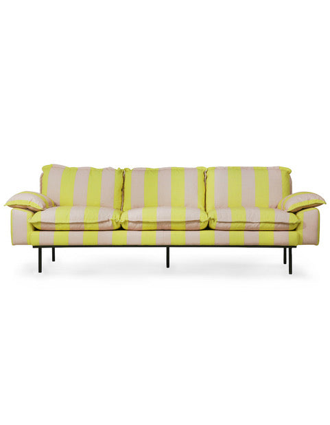 Yellow Candy Striped 4 Seater Sofa