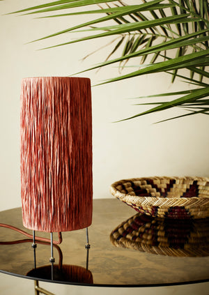 Rust Table Lamp In Raffia Finish