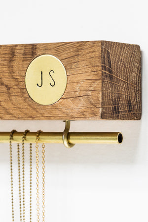 Personalised Oak & Brass Jewellery Stand - The Forest & Co.