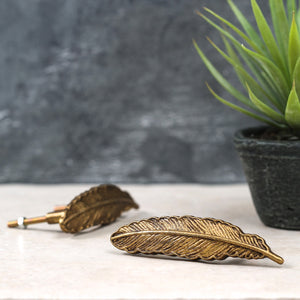 Gold Feather Door Knob - The Forest & Co.