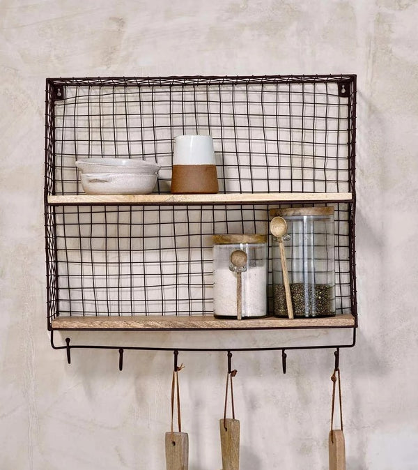 Aged Metal Wire Wall Shelf With Hooks