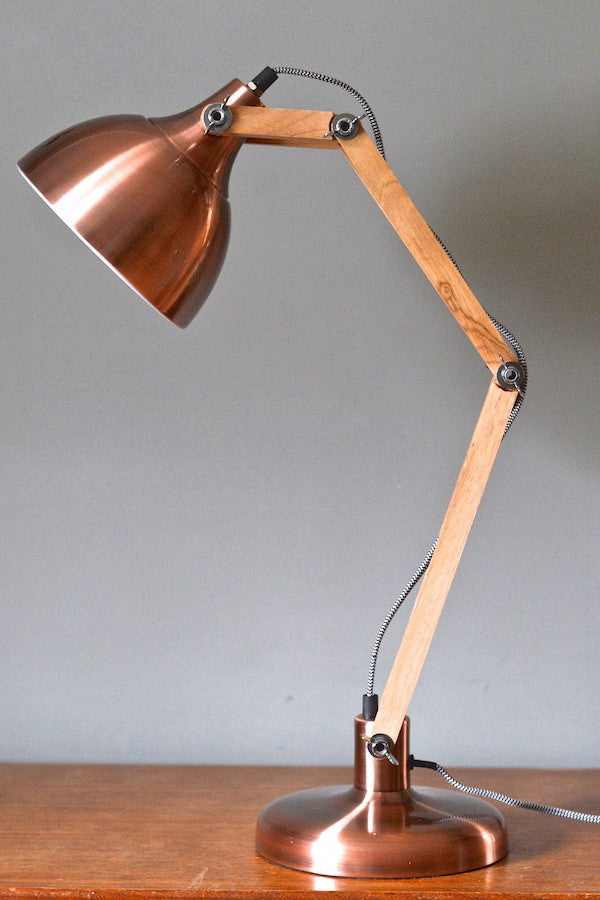 Copper & Wood Angled Table Lamp - The Forest & Co.