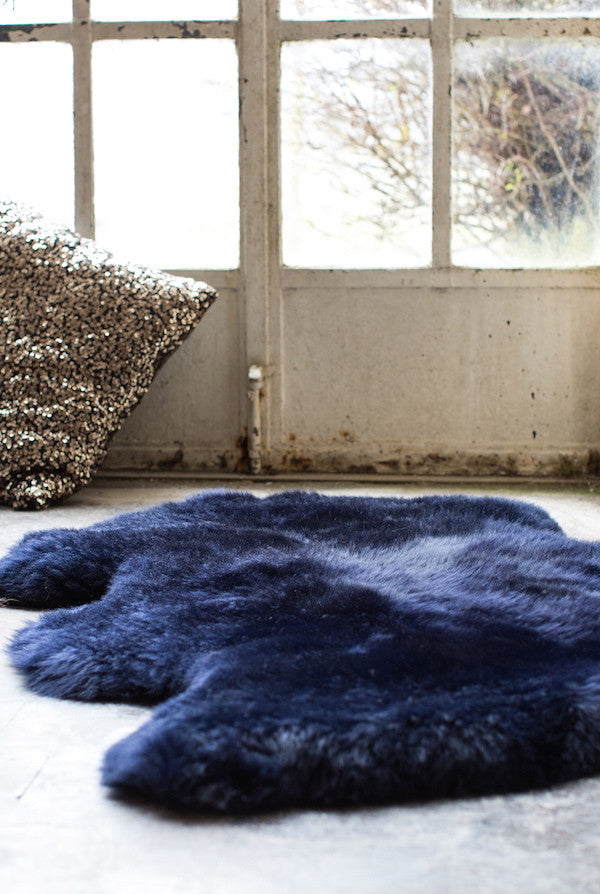 Luxurious Midnight Blue Sheepskin Rug - The Forest & Co.