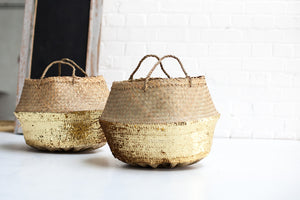 Gold Sequin Dipped Seagrass Basket - The Forest & Co.
