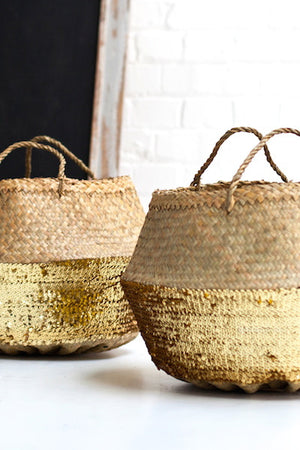 Gold or Silver Sequin Dipped Seagrass Basket - The Forest & Co.