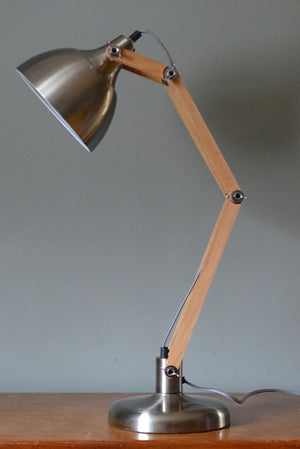 Steel and Wood Angled Desk Lamp