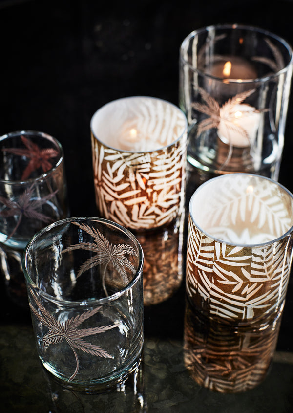 Leaf Print Tea Light Holder