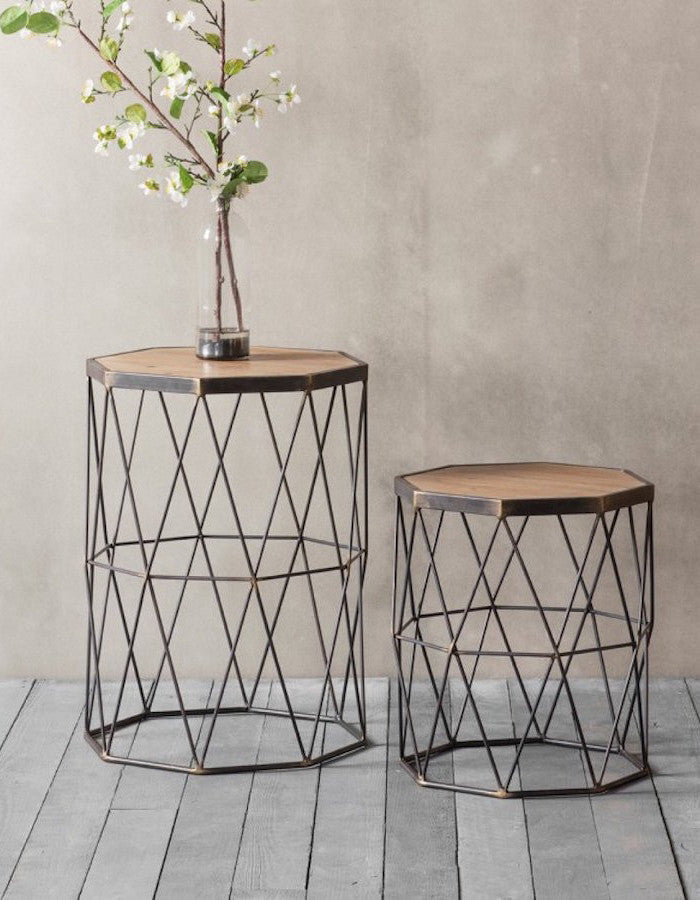 quality design 68bb7 ca576 Set Of Two Wooden And Metal Side Table