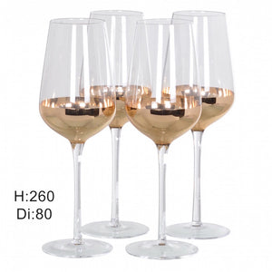 Set Of Four Copper Bottomed Champagne Flutes