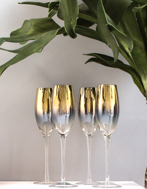 Set Of Four Gold Dipped Champagne Flutes