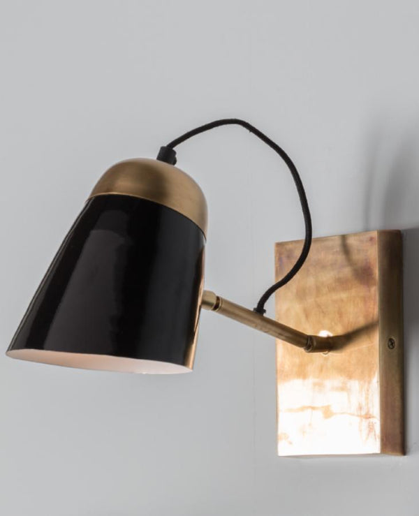Glossy Black And Gold Wall Light