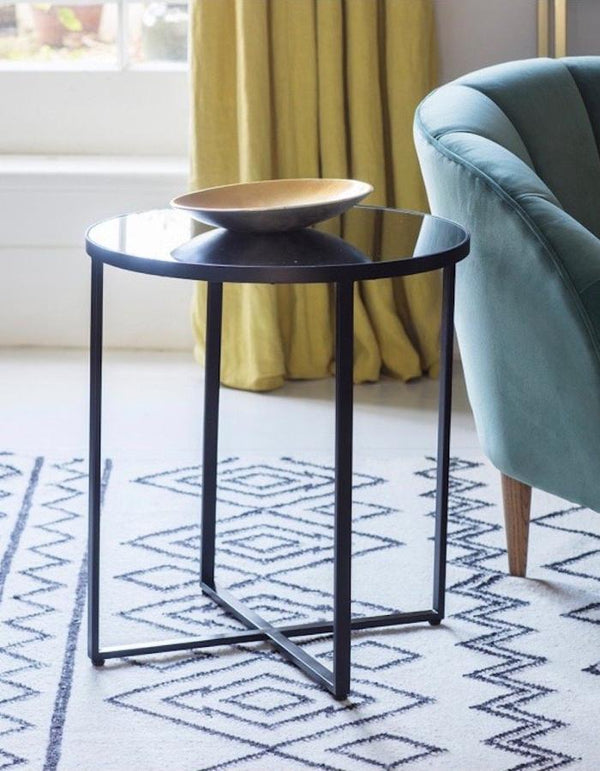 Mirrored Circular Side Table