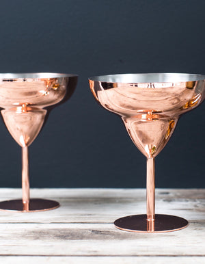 copper deco cocktail glasses