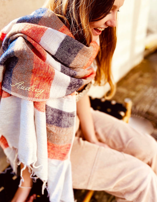 Rust Stripe Wool Mix Blanket Scarf