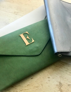 Golden Letter Clutch Bag In Colours