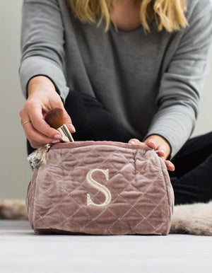 Personalised Dusky Pink Quilted Wash Bag With Initial