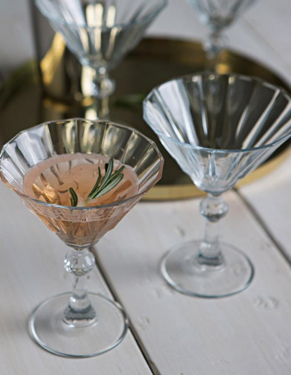 Set Of Two Deco Cocktail Glasses