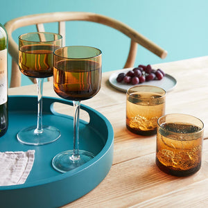 Retro Amber Wine Glasses