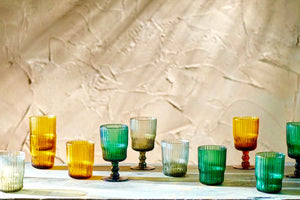 Colourful Ribbed Wine and Water Glasses