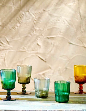 Colourful Ribbed Wine and Water Glasses PRE ORDER