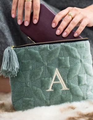 Luxurious Quilted Sage Green Embossed Wash Bag