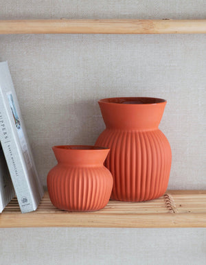 Ribbed Terracotta Ceramic Vase