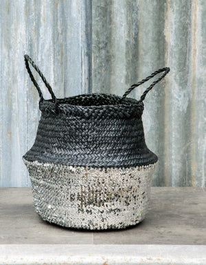 Black Sequin Dipped Seagrass Baskets