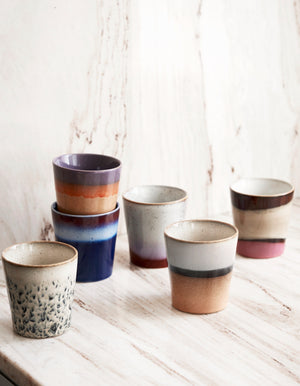 Set Of Six Colourful Glazed Espresso Cups   PRE ORDER DECEMBER