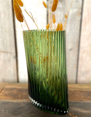 Green Glass Ripple Vase