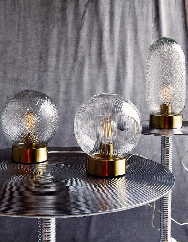 Etched Glass Danish Table Lamps