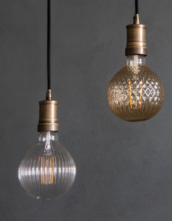 Pair Of Etched Bulb Pendant Lights