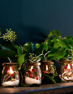 Lit Christmas Berry Jar Lights