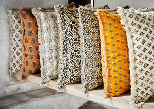 Printed Danish Cushions With Fringe