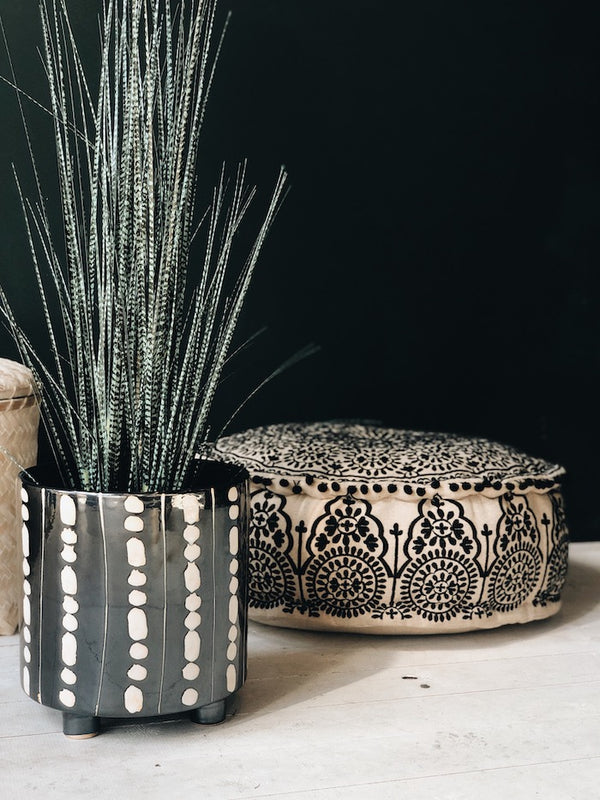 Black And White Shibori Ceramic Planter