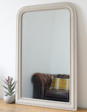Vintage Edged Wall Mirror In Stone  PRE ORDER MARCH