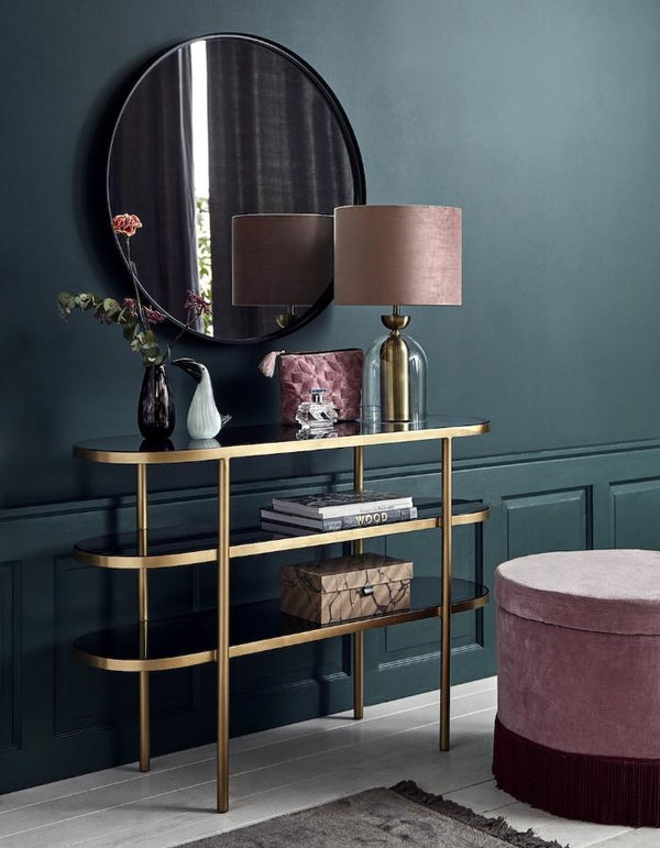 Golden Oval Console Table With Black Glass