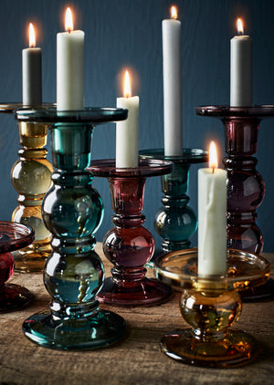 Coloured Glass Candle Holders.   PRE ORDER AUGUST