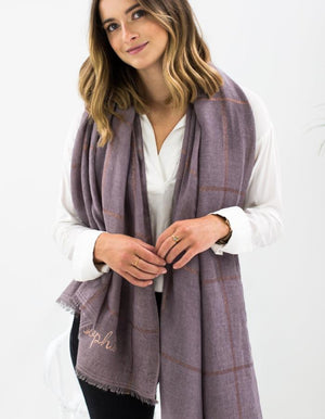 Personalised Heather Scarf With A Subtle Copper Check PRE ORDER DECEMBER