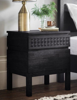Black Boho Bedside Table