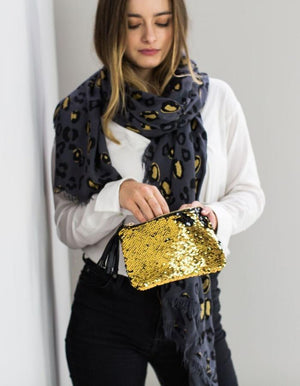 Personalised Glittered Leopard Print Scarf