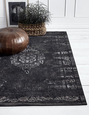 Black And Grey Woven Rug