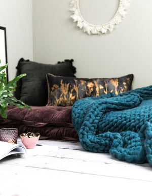Chunky Knit Teal Throw
