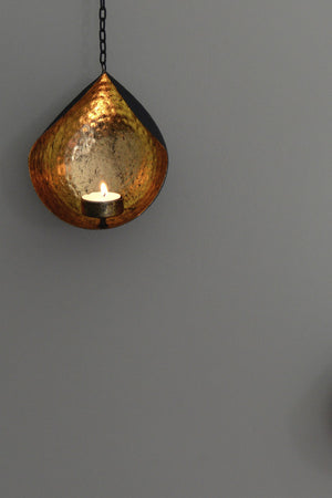 Hanging Gold And Black Tea Light Holder - The Forest & Co.