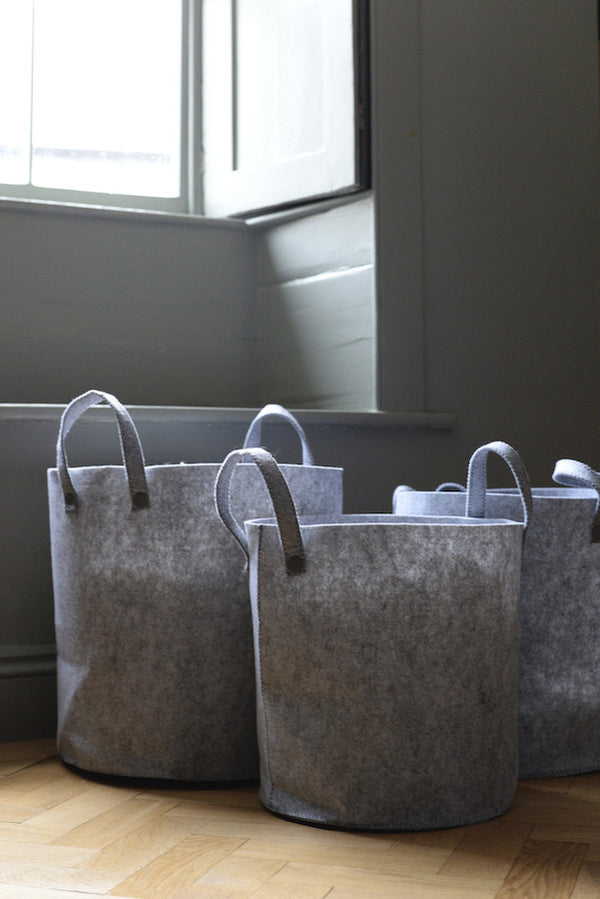 Grey Felt Storage Baskets Set - The Forest & Co.