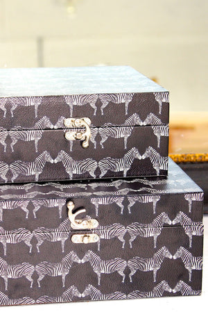 Zebra Printed Storage Boxes Set - The Forest & Co.