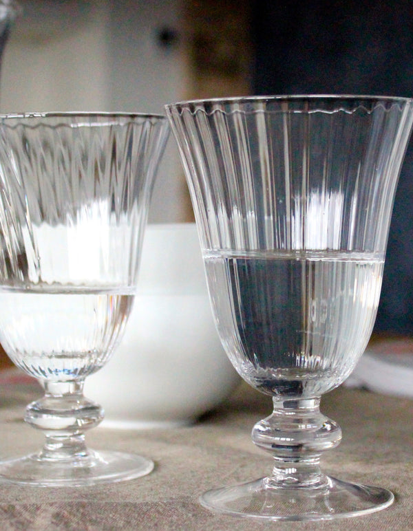 Set Of Six Ribbed Glasses In Clear Or Green